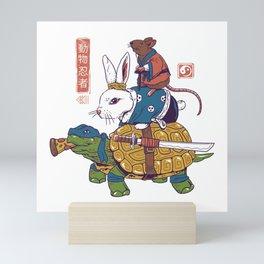 Kame, Usagi, and Ratto Ninjas White Mini Art Print