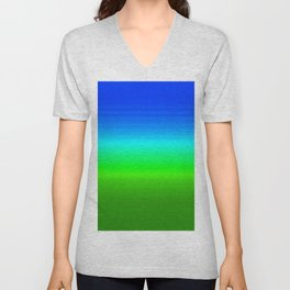 Blue Sky Green Grass Deconstructed (blue to green ombre gradient) Unisex V-Neck