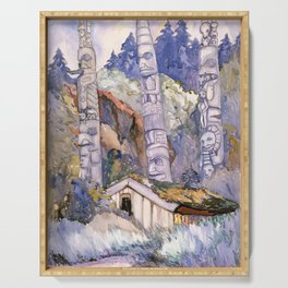 Emily Carr - Haida Totems, Cha-atl, Queen Charlotte Island - Canada, Canadian Oil Painting Serving Tray