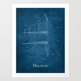 Ship Rocket Blueprint Art Print