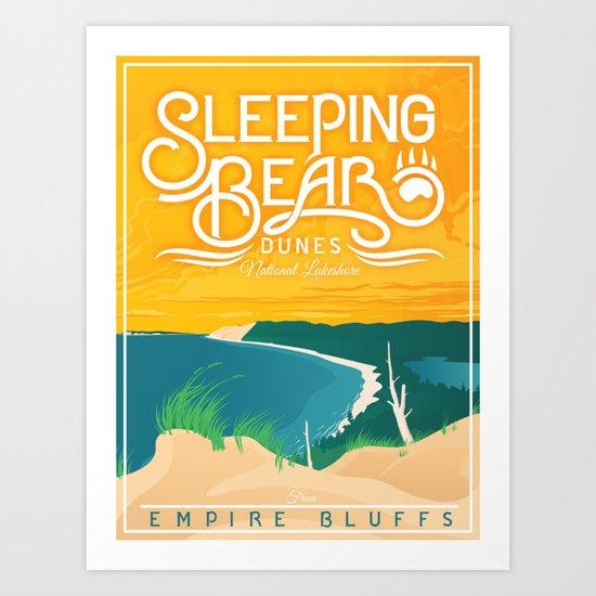 Sleeping Bear Dunes - Vintage Inspired Michigan Travel Poster by mightymitten