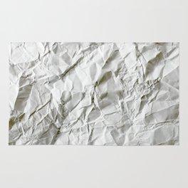 CRUMPLED WRINKLED WHITE PAPER I Rug