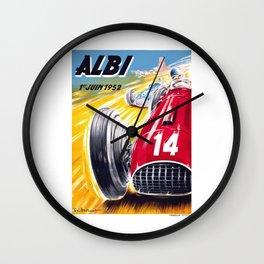 1952 Albi Grand Prix Automobile Race Poster Wall Clock