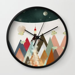 living on the moon Wall Clock