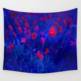 Red in Blue Wall Tapestry