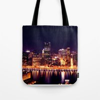 pittsburgh Tote Bags featuring Pittsburgh  by Chandon Photography