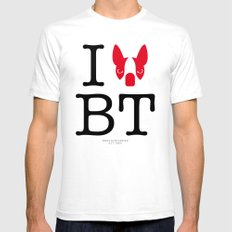 I ♥ BOSTON TERRIER White SMALL Mens Fitted Tee
