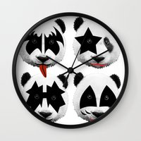 kiss Wall Clocks featuring kiss by mark ashkenazi
