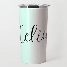 Celia - Mint and Coral Travel Mug