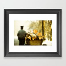 Farmer and Wood Cart in Moldova, Romania Framed Art Print