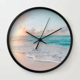 Beautiful tropical turquoise sandy beach photo Wall Clock