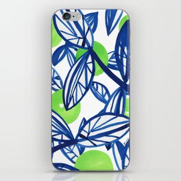 Blue and lime green abstract apple tree iPhone Skin