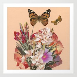 Butterflies and Flowers on Pink Art Print