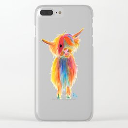 Scottish Highland Cow ' ANGEL ' by Shirley MacArthur Clear iPhone Case