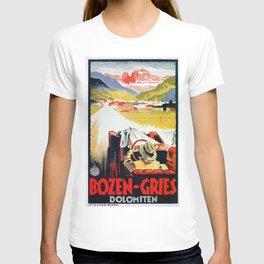 Bozen Gries Italian Alps retro convertible car T-shirt