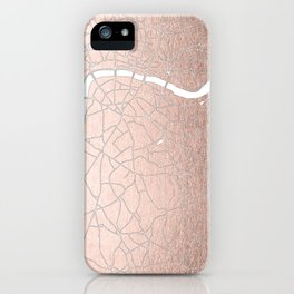 RoseGold on White London Street Map II iPhone Case