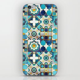 Spanish moroccan tiles inspiration // turquoise blue golden lines iPhone Skin