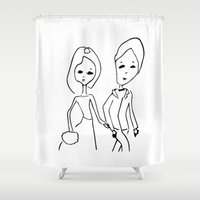 lovers Shower Curtains featuring lovers by of black line