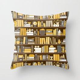 Book Case Pattern - Yellow Grey Throw Pillow