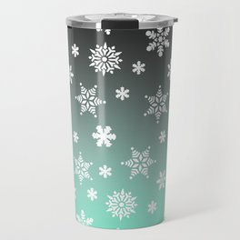 Snow Flurries-Gray/Aqua Ombre Travel Mug