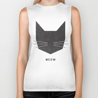 grey Biker Tanks featuring MEOW by Wesley Bird