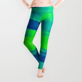 Lime Green & Blue Stripes Abstract Leggings