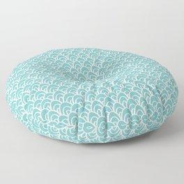 Seigaiha Aqua Sky Cyan Turquoise Mermaid Scales Pattern Shapes Floor Pillow