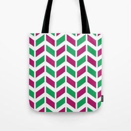 Berry pink, green and white chevron pattern Tote Bag