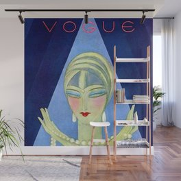 1927 Vintage Art Deco Flapper Young Woman Winter Magazine Cover by Eduardo Garcia Benito Wall Mural