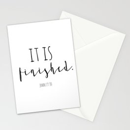 It is finished John 19:30 Easter Good Friday Bible Verse Stationery Cards