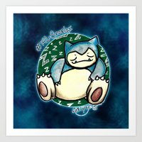 snorlax Art Prints featuring 142 - Snorlax by Lyxy