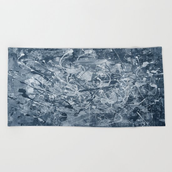 Abstract black painting Beach Towel