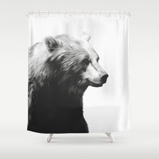 Bear // Calm (Black + White) Shower Curtain