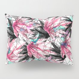 Abstract Pink Teal Leaves and Geometric Triangles Pillow Sham