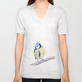 Blue Tit , Eurasian Blue Tit , Blue Bird, Watercolor Painting  Unisex V-Neck