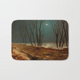 Carl Blechen - Landscape in Winter at Moonlight - German Romanticism - Oil Painting Bath Mat