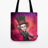 mad hatter Tote Bags featuring Mad Hatter by apgme