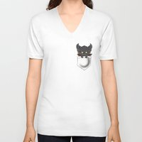 warcraft V-neck T-shirts featuring Dragon Pocket Tee by SlothgirlArt