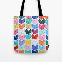 Polka Daub Heart Grid Tote Bag