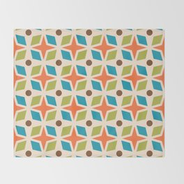 Mid Century Modern Abstract Star Dot Pattern 441 Orange Brown Turquoise Chartreuse Throw Blanket