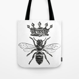 Queen Bee | Vintage Bee with Crown | Black and White | Tote Bag