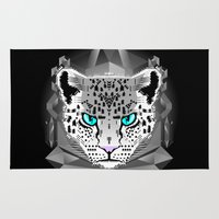 snow leopard Area & Throw Rugs featuring Snow Leopard by chobopop