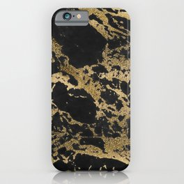 Modern faux gold glitter black marble iPhone Case