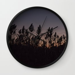 Phragmites silhouette at sunset Wall Clock