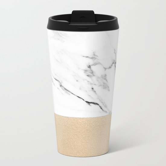 White Marble with Black and Copper Bronze Metal Travel Mug