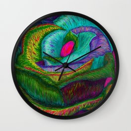 Pinkie Teal Neon Rose (Rainbow Roses) Wall Clock
