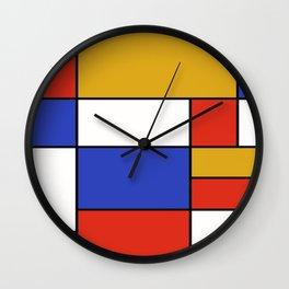 Abstract #401 Mondriaan #8 Wall Clock