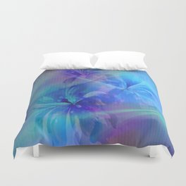 Soft  Colored Floral Lights Beams Abstract Duvet Cover