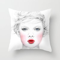 chill Throw Pillows featuring Chill by Miss L in Art