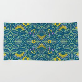 Blue Vines and Folk Art Flowers Pattern Beach Towel
